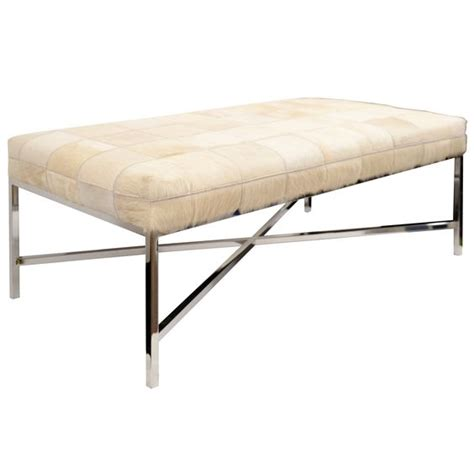 cowhide bench modern south patchwork cowhide bench with chrome legs