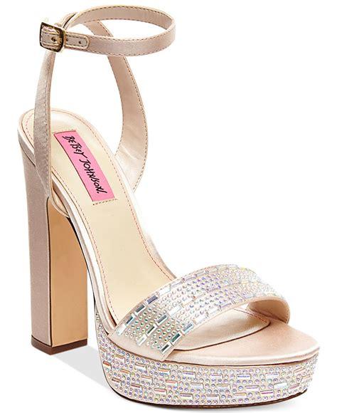 betsey johnson alliie platform evening sandals in gold