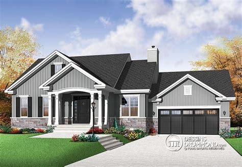 D 233 Tail Du Plan De Maison Unifamiliale W3236 V1 Bungalow 2 Car Garage House Plans