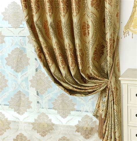 exotic curtains and drapes gold damask jacquard polyester luxury curtains and drapes
