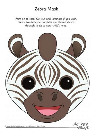 printable animal masks zebra animal masks