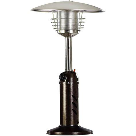 mini patio heater hanover mini umbrella tabletop 11 000 btu hammered bronze