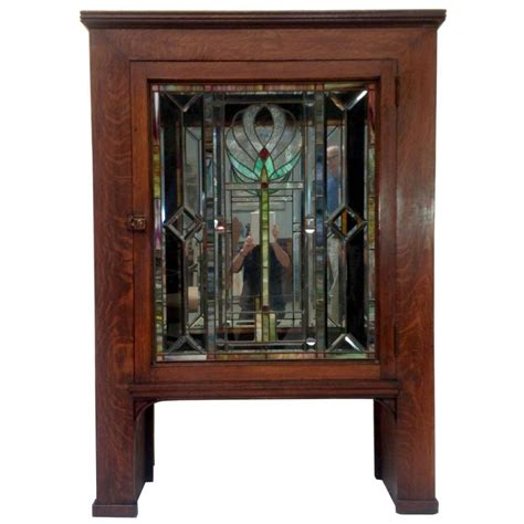 Stained Glass Cabinet by Antique Craftsman Mission Cabinet With Stained Glass Door