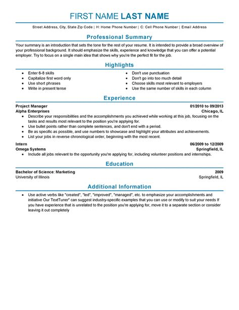 Professional Experience Resume Exle by Experienced Resume Templates To Impress Any Employer Livecareer