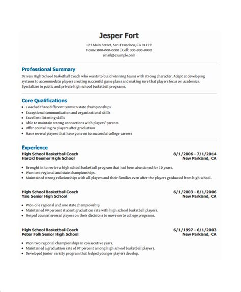 Coaching Resume Template by Coach Resume Template 6 Free Word Pdf Document