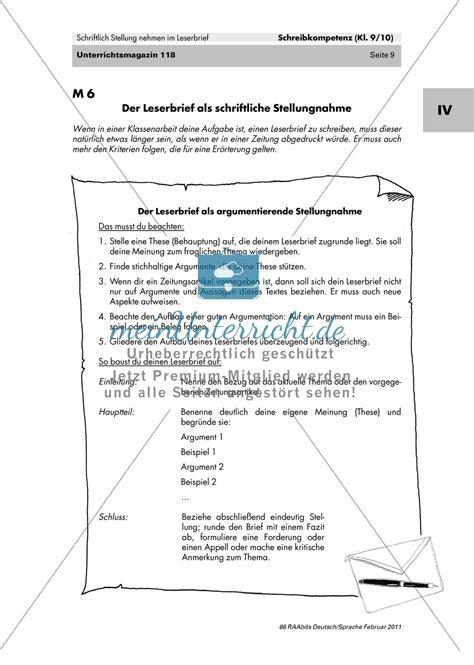 Ein Offizieller Brief Schreiben Der Leserbrief Als Schriftliche Stellungnahme Merkmale Kennen Lernen Fehler Finden Produktion