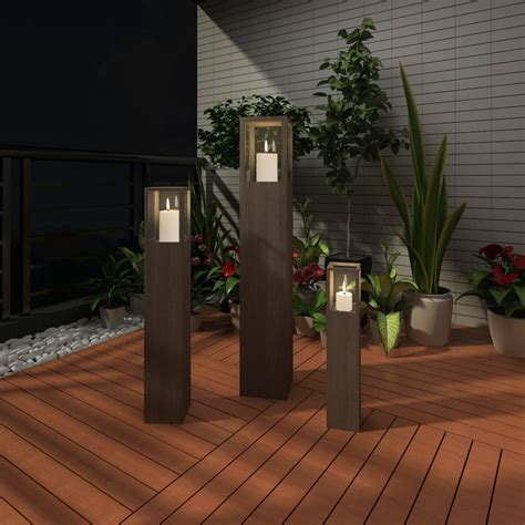 garden candle stand set 3 pcs outdoor lighting torch