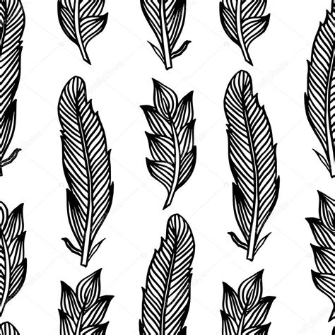 boho pattern drawing black white seamless pattern with feathers boho style