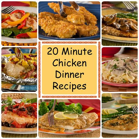 chicken for a dinner 20 minute chicken dinner recipes everydaydiabeticrecipes