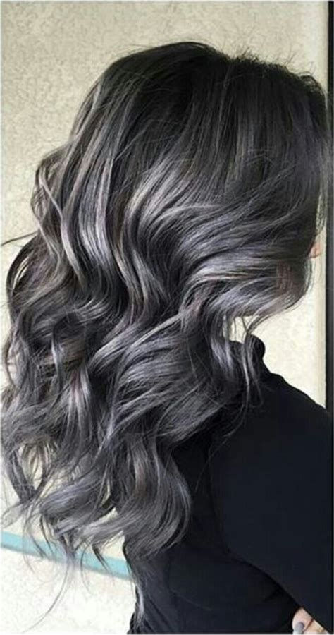 pictures of dark brown hair with gray highlights soft smokey silver grey highlights on dark hair hair