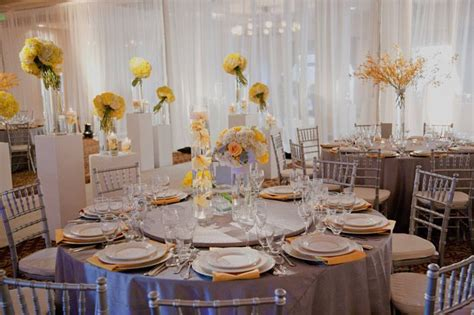 Yellow And Grey Table L Yellow And Gray Wedding Reception Table Settings Yellow