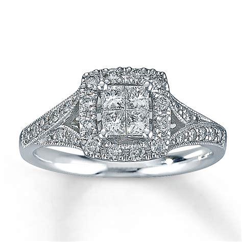 engagement ring 1 2 ct tw diamonds 14k white
