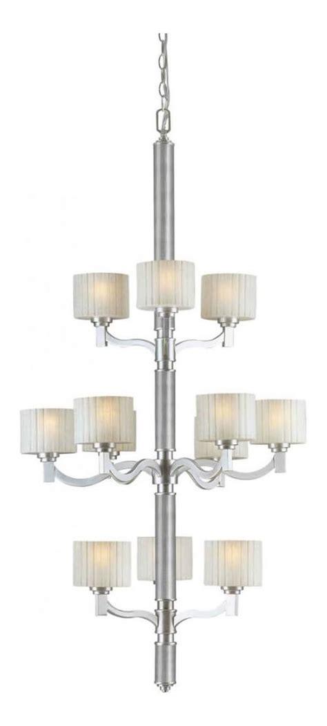 Linen Chandelier Forte Twelve Light Brushed Nickel Umber Linen Glass Drum