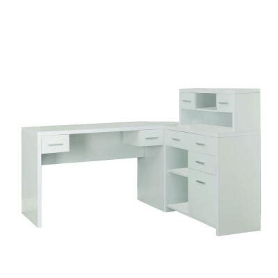 White Desk L Shaped Monarch Specialties Hollow L Shaped Home Office Desk In White I 7028 The Home Depot