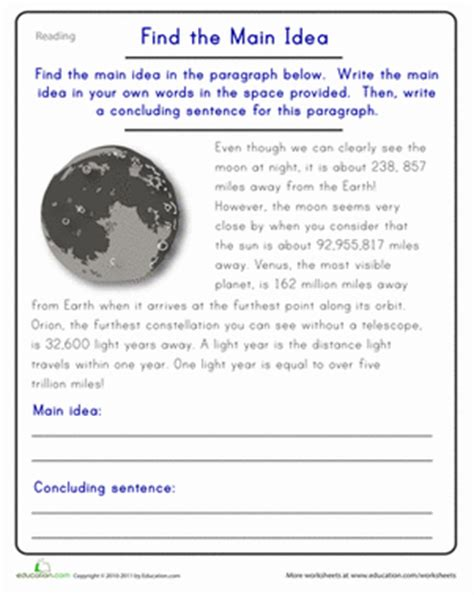 Idea Worksheets 5th Grade by Find The Idea The Moon Worksheet Education