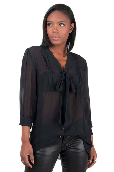 Black Sheer Blouse by Poetic Justice Black S Sheer Neck Tie Blouse With 3