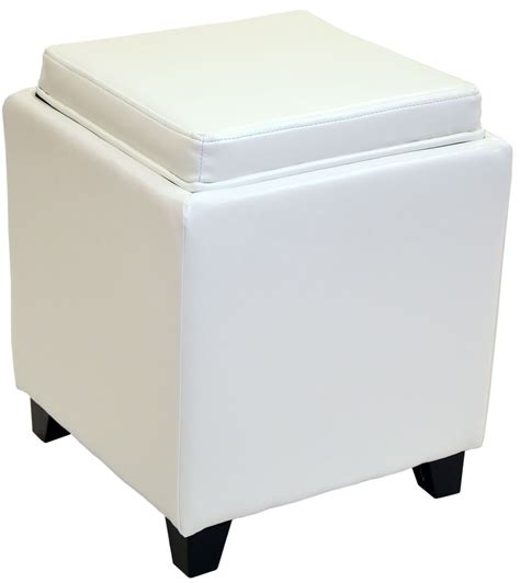 White Leather Storage Ottoman Rainbow White Bonded Leather Storage Ottoman With Tray Lc530otlewh Armen Living