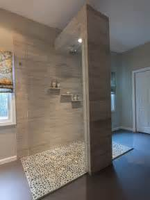 Open Shower Bathroom Bathroom Design Cool Open Shower With Pebble Floor Design Ideas And Brick Wall Amazing Way To