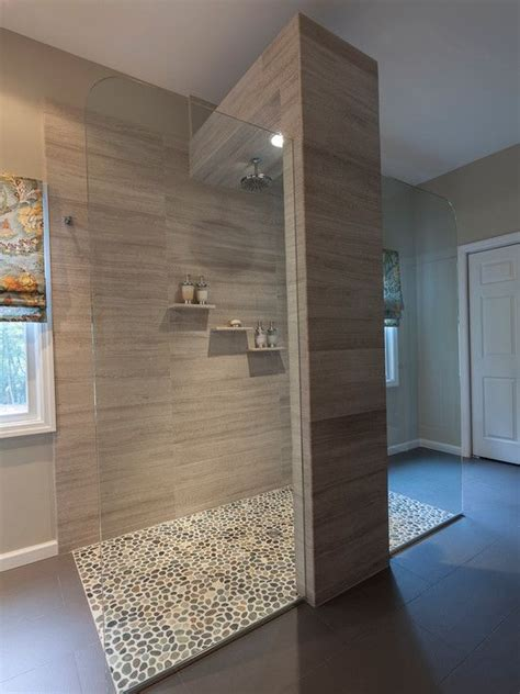 Bathroom With Open Shower Bathroom Design Cool Open Shower With Pebble Floor Design Ideas And Brick Wall Amazing Way To