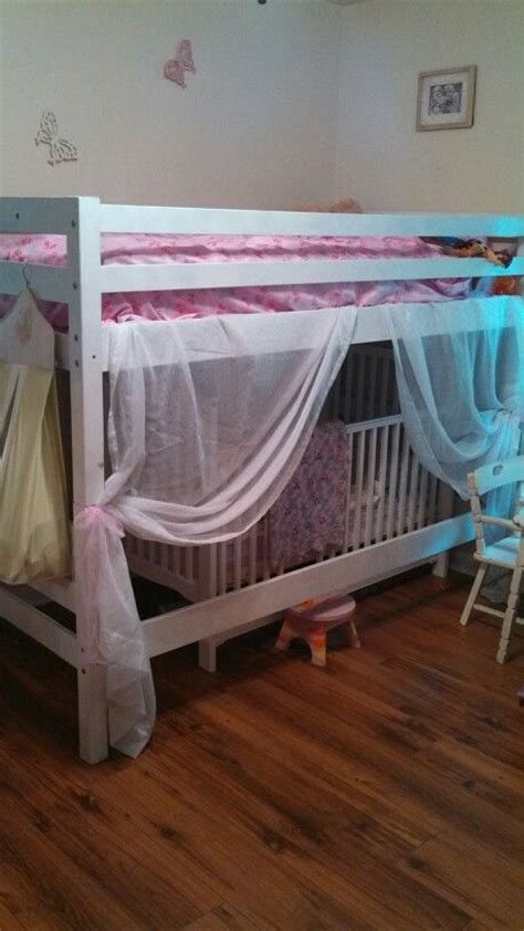 bunk bed with crib underneath pin by amy vandegriffe on shiloh pinterest