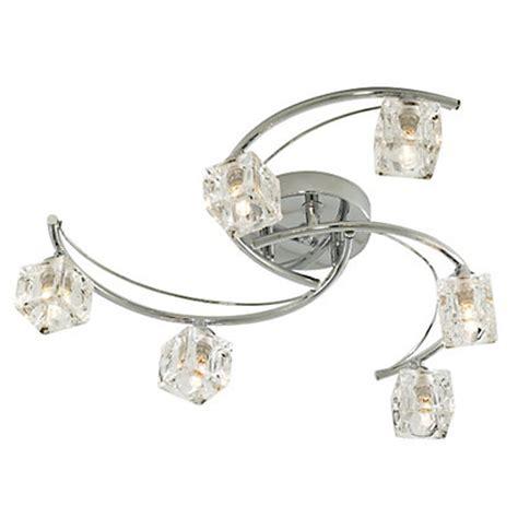 homebase bathroom light fittings glass ice cube 6 light flush ceiling light silver