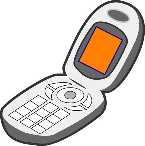 Clipart Of A Phone cell phone grey orange clip at clker vector clip
