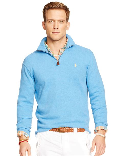 Sweater Inter Blue Half Zipper 1516 lyst polo ralph rib half zip pullover in blue for