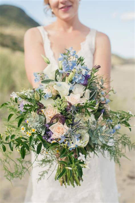 wild blue bridal bouquet   beach wedding bridal