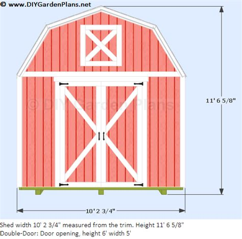 Free Shed Plans 12x10 by 10 X12 Gambrel Shed
