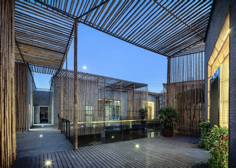 Homes With Interior Courtyards by Tea House Yangzhou Chinese Bamboo Building E Architect