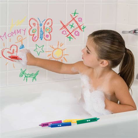 1 girl 1 bathtub draw in the tub 6 crayons bathtub crayon holder