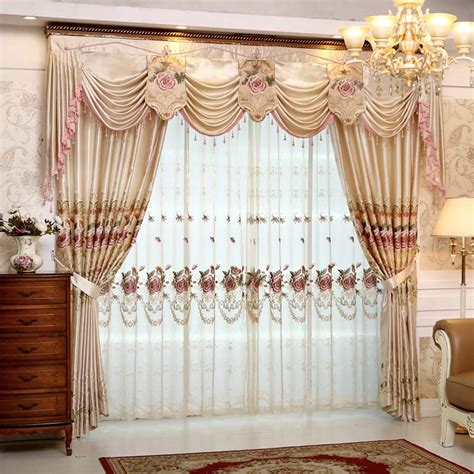 European Style Curtains Set Luxury Curtains For Living Room With Valance European Style Embroidered Flower Curtains