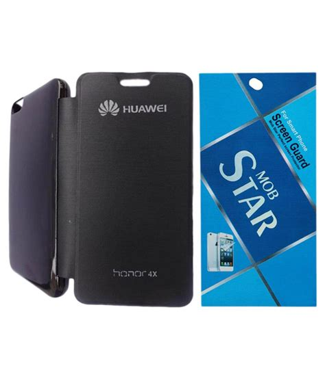 Flip Cover For Huawei Honor 4x sbg black flip cover for huawei honor 4x with mobstar