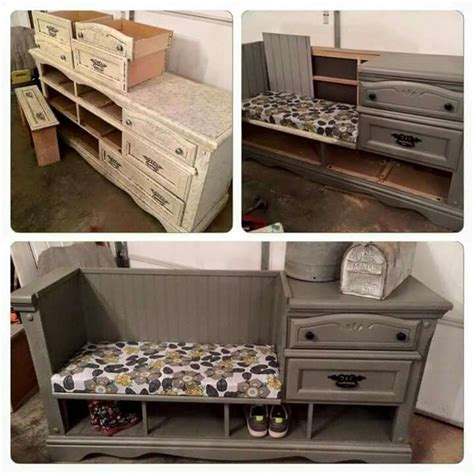 cool entryway benches take an dresser and turn it into a foyer bench neat