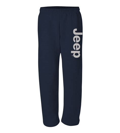 light gray jeep all things jeep navy open bottom sweatpants with light