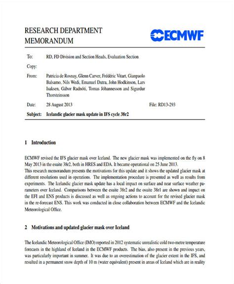 research memo template 8 research memo exles sles