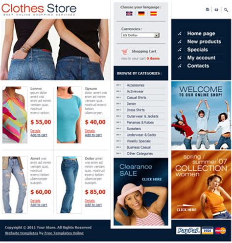 Free Website Template For Online Clothes Store Free Templates Online Store Html Template