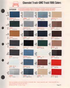 truck paint colors paint chips 1986 chevy truck gmc