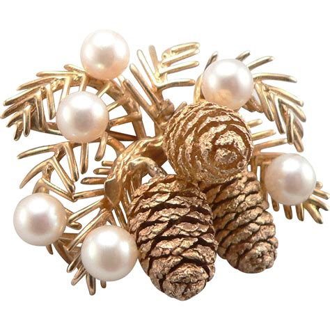 vintage yellow 14k gold pinecone brooch pin cultured