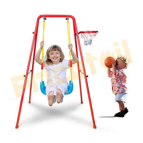 new age swing 2 in 1 kids indoor outdoor swing basketball set backyard