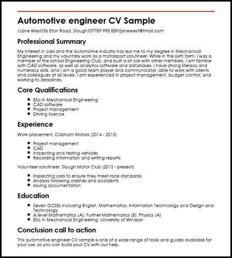cover letter for automotive industry automotive engineer cv sle myperfectcv
