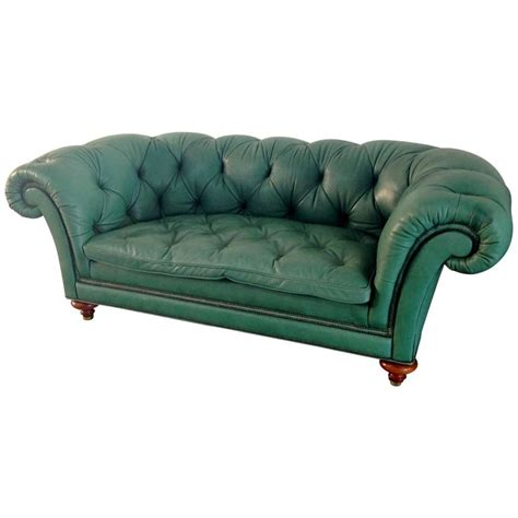 green vintage sofa english green vintage leather chesterfied sofa for sale at