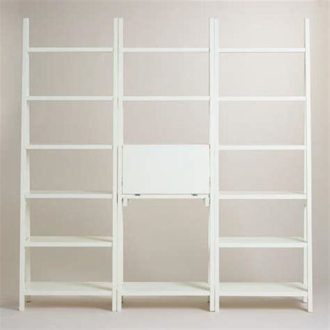 White Lacquer Josephine Bookcase With Work Surface World White Lacquer Bookcase