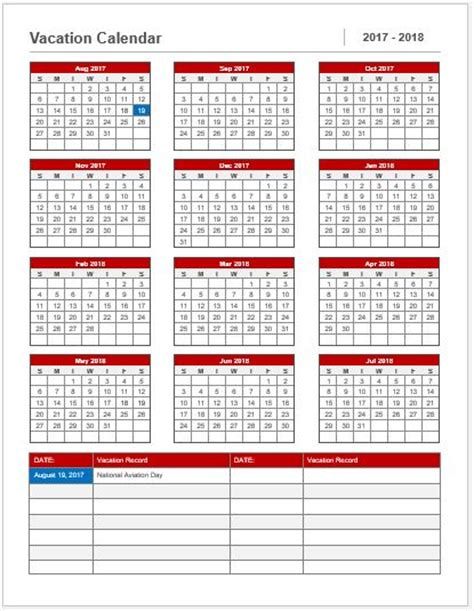 vacation calendar template 2017 18 for ms word word