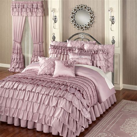 y comforters enchante dusty mauve ruffled comforter bedding