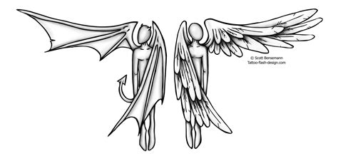 half angel half demon tattoo designs half half design by bensemann