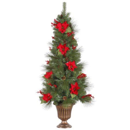 pre lit christmas topiary trees 5 pre lit poinsettia berry artificial topiary tree clear lights walmart