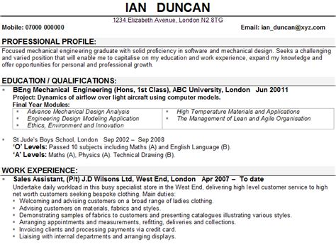 Resume Examples For Retail Sales by Mechanical Engineering Cv Example