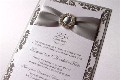 25th anniversary invitation card templates anniversary invitations 25th silver wedding anniversary