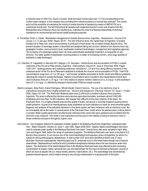 literature summary literature review matanza riachuelo river acumar